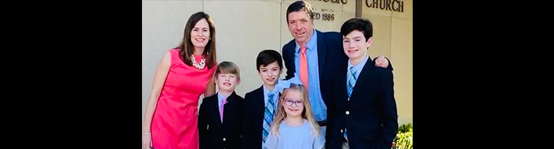 john o'leary and family at church